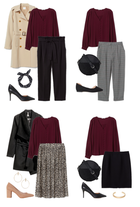 Red Blouse Outfit Options for Business Casual Capsule Wardrobe