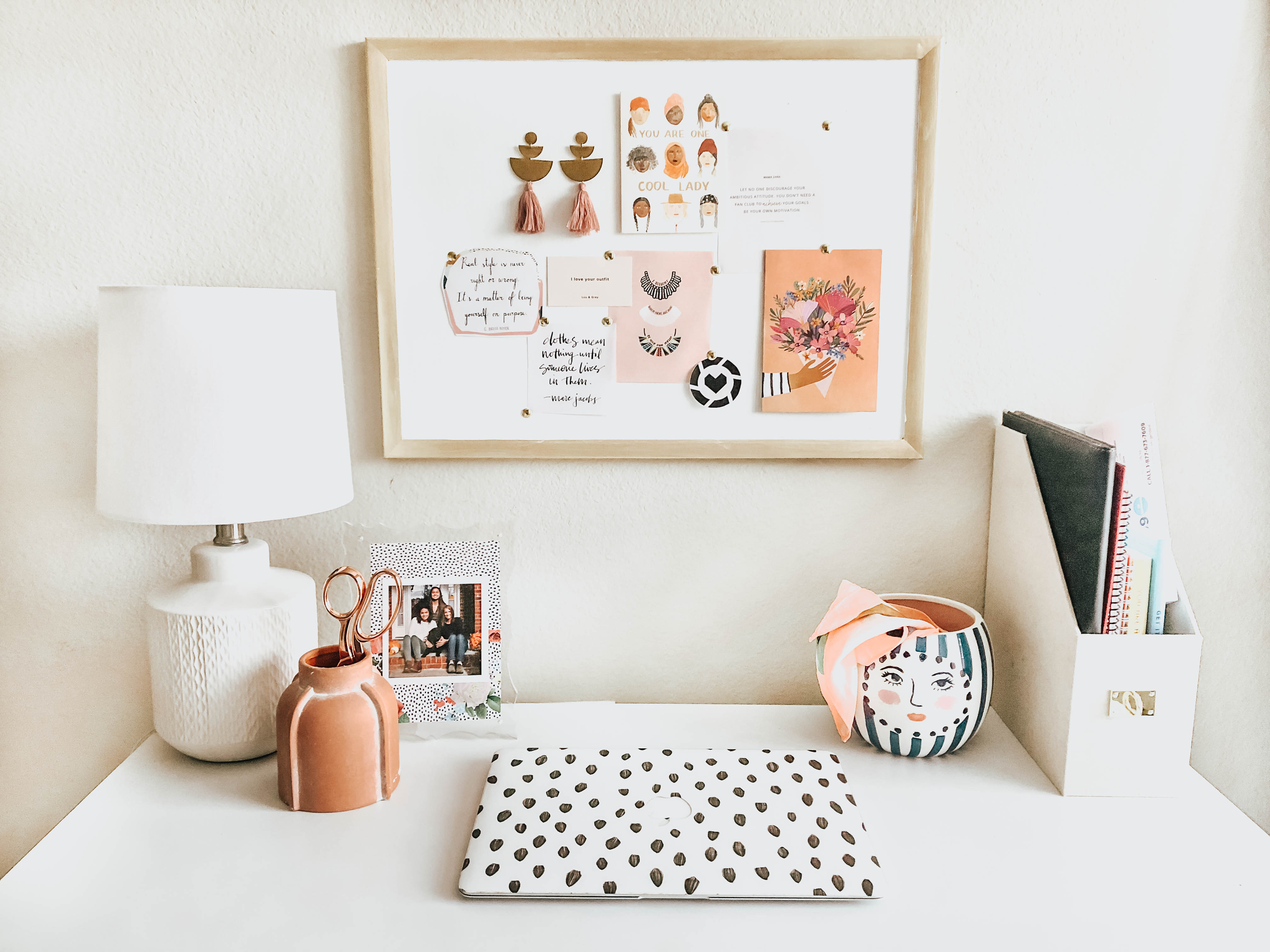 White Desk with DIY Gold Framed Cork Board Above It