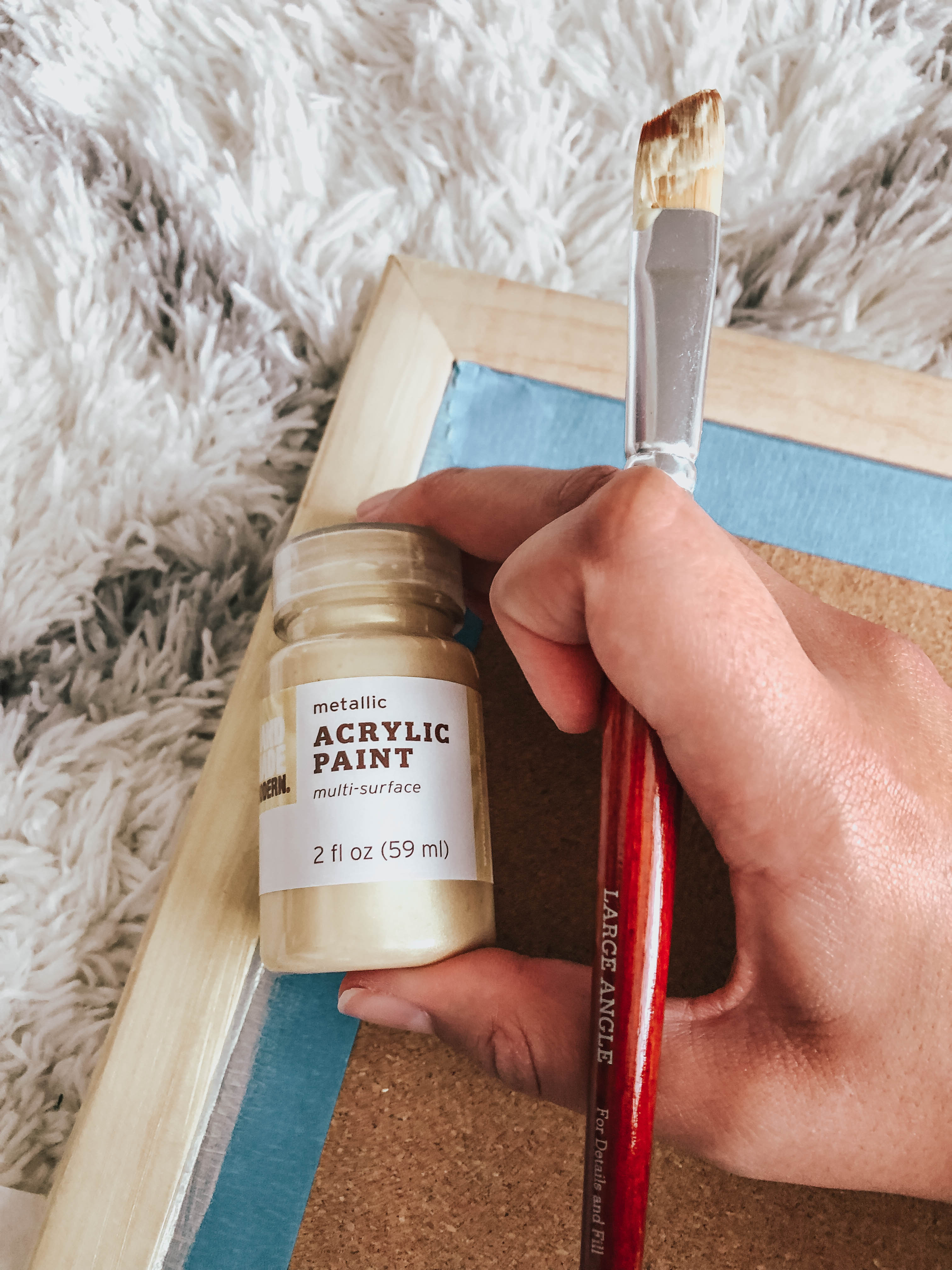 Metallic Gold Acrylic Paint and Paint Brush for Easy DIY Cork Board post