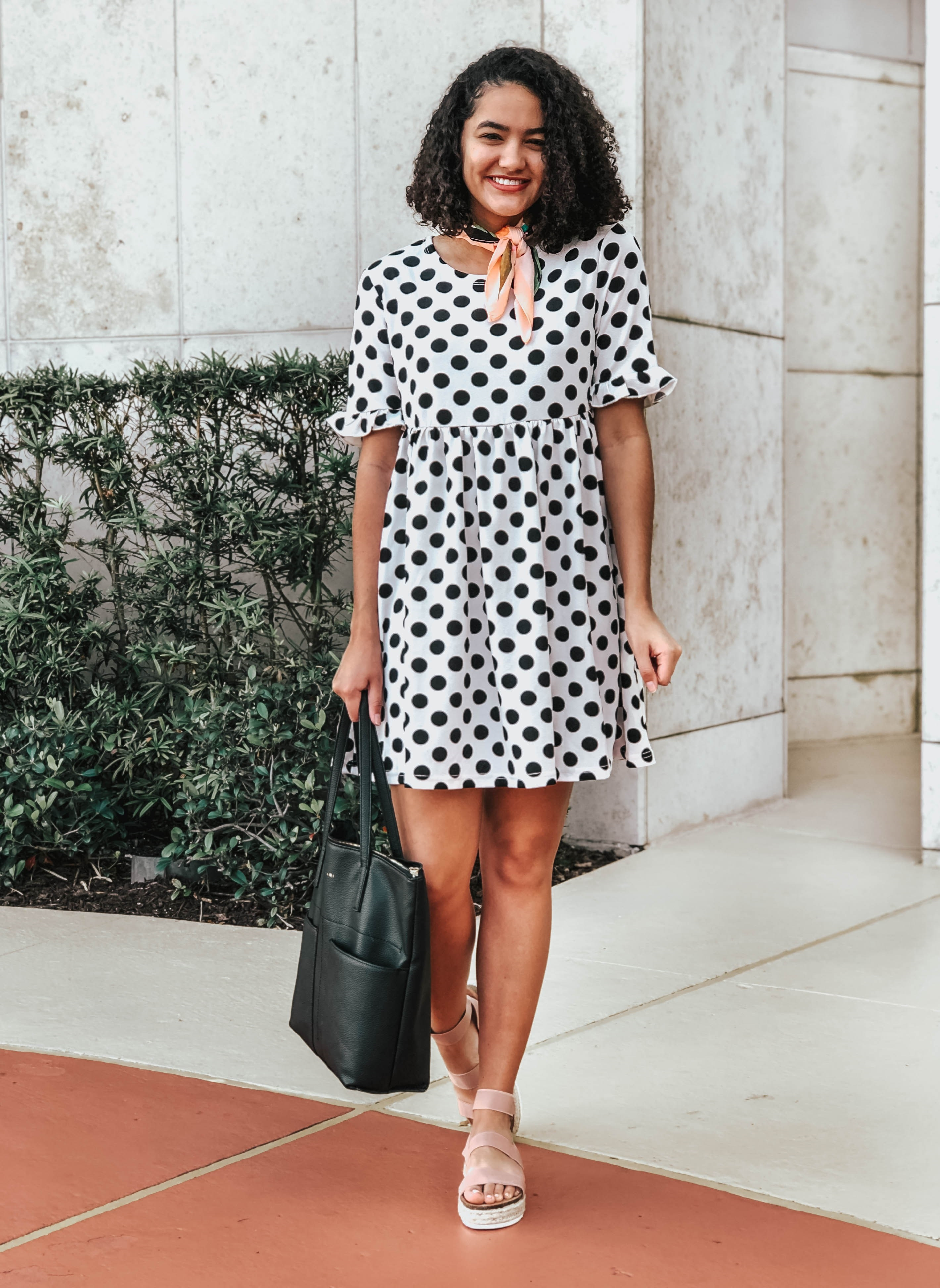 Polka dot Ruffle Dress and Blush Pink Espadrille Wedges and a Neck Scarf