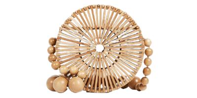 round bamboo crossbody bag