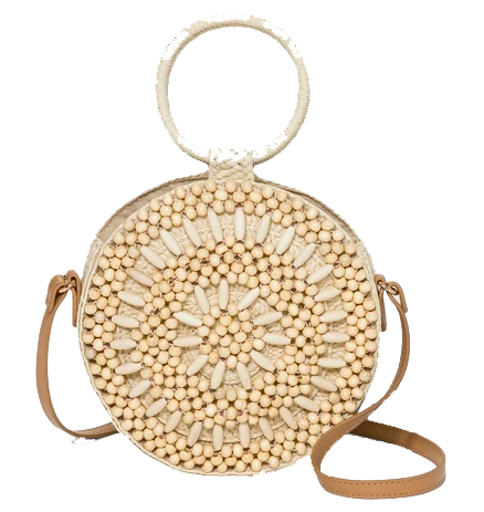 Round Woven Handbag with Bead Accents