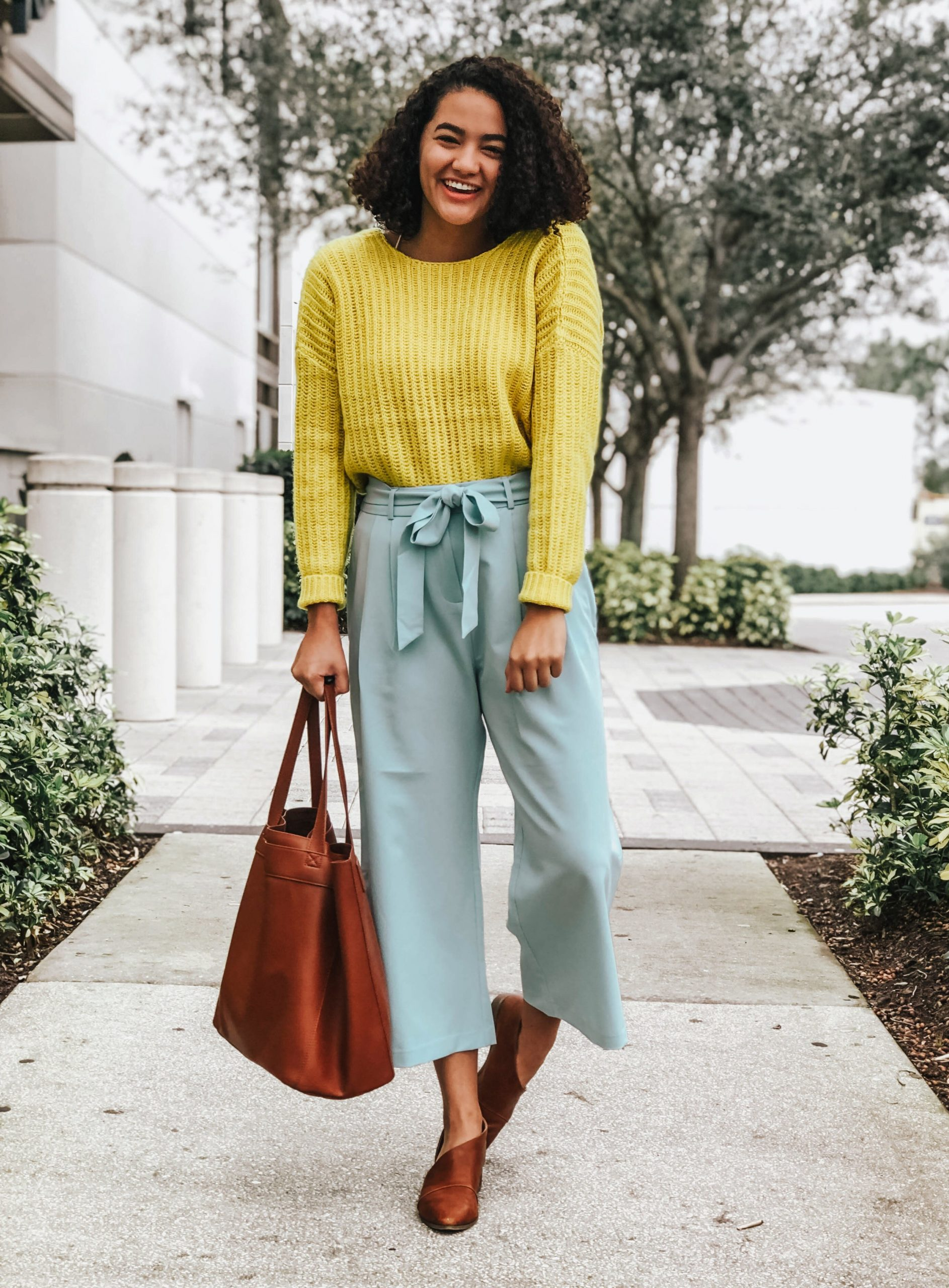 ASOS Design Yellow Sweater and Blue Culottes Looks