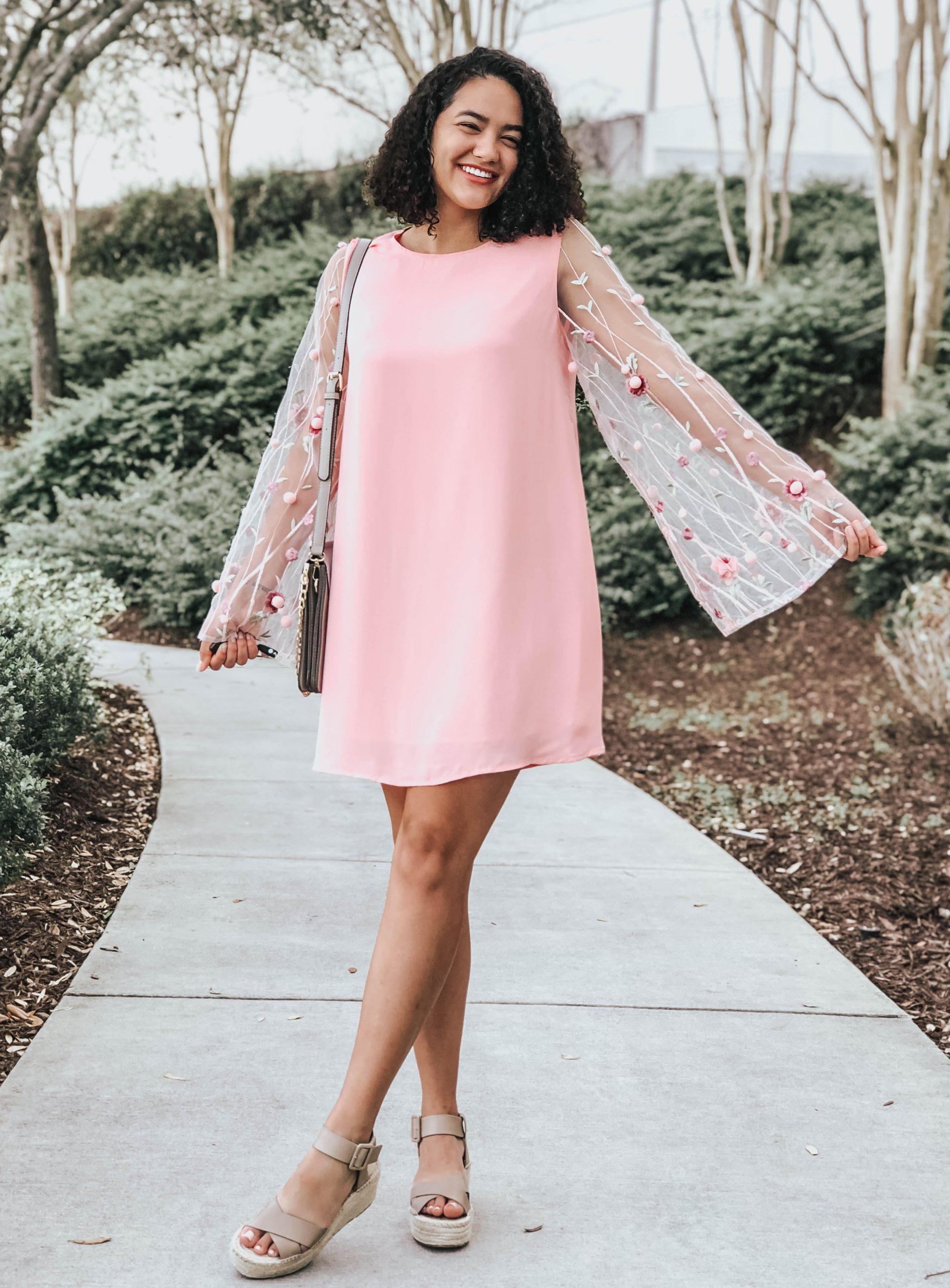 Pink Shift Dress with 3D Embellished Sleeves and Faltform Sandals