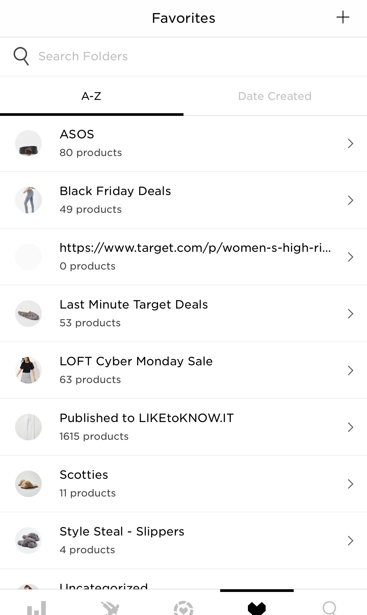 Favorites Section of the RewardStyle Mobile App