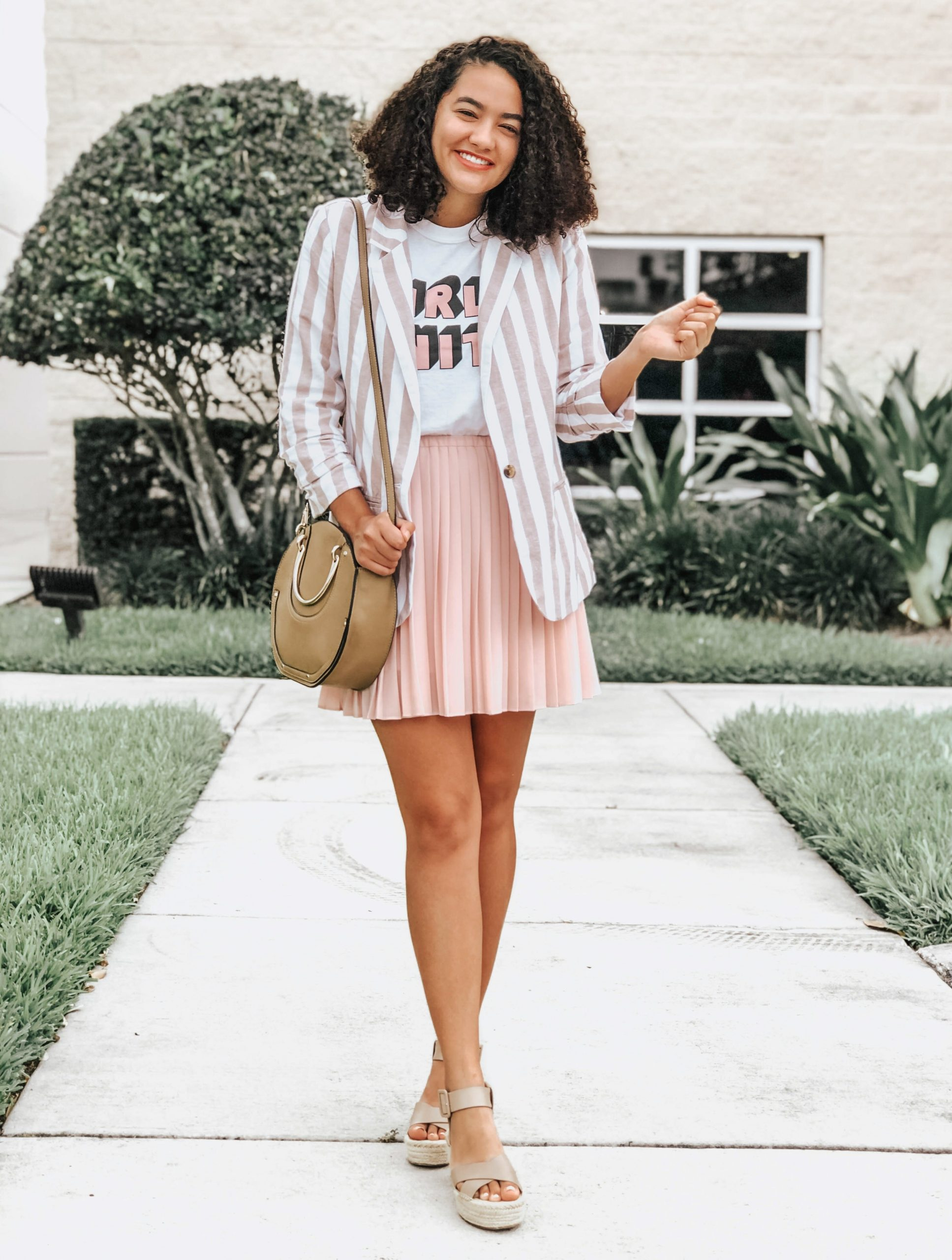 Striped Blazer, Pink Pleated Skirt, Espadrille Wedges