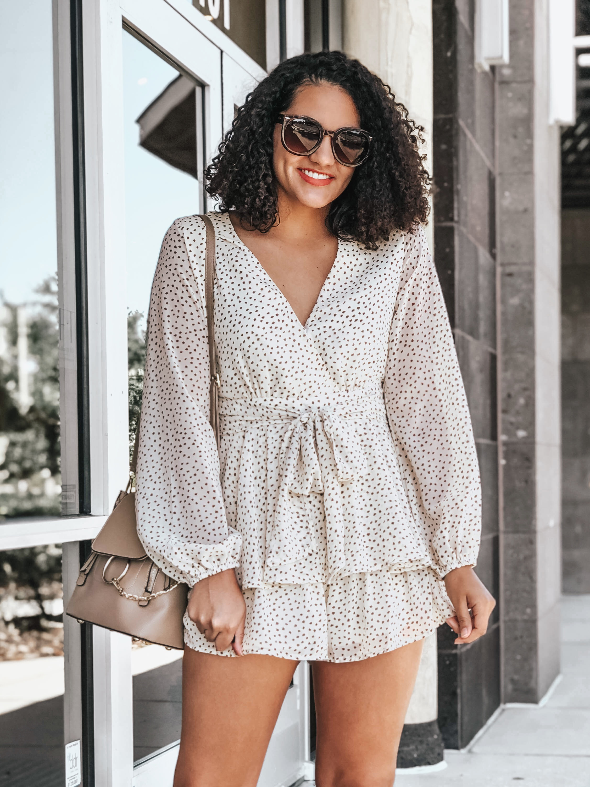 White Polka Dot Romper from Chicwish, Sunglasses from Amazon, Bag from Amazon