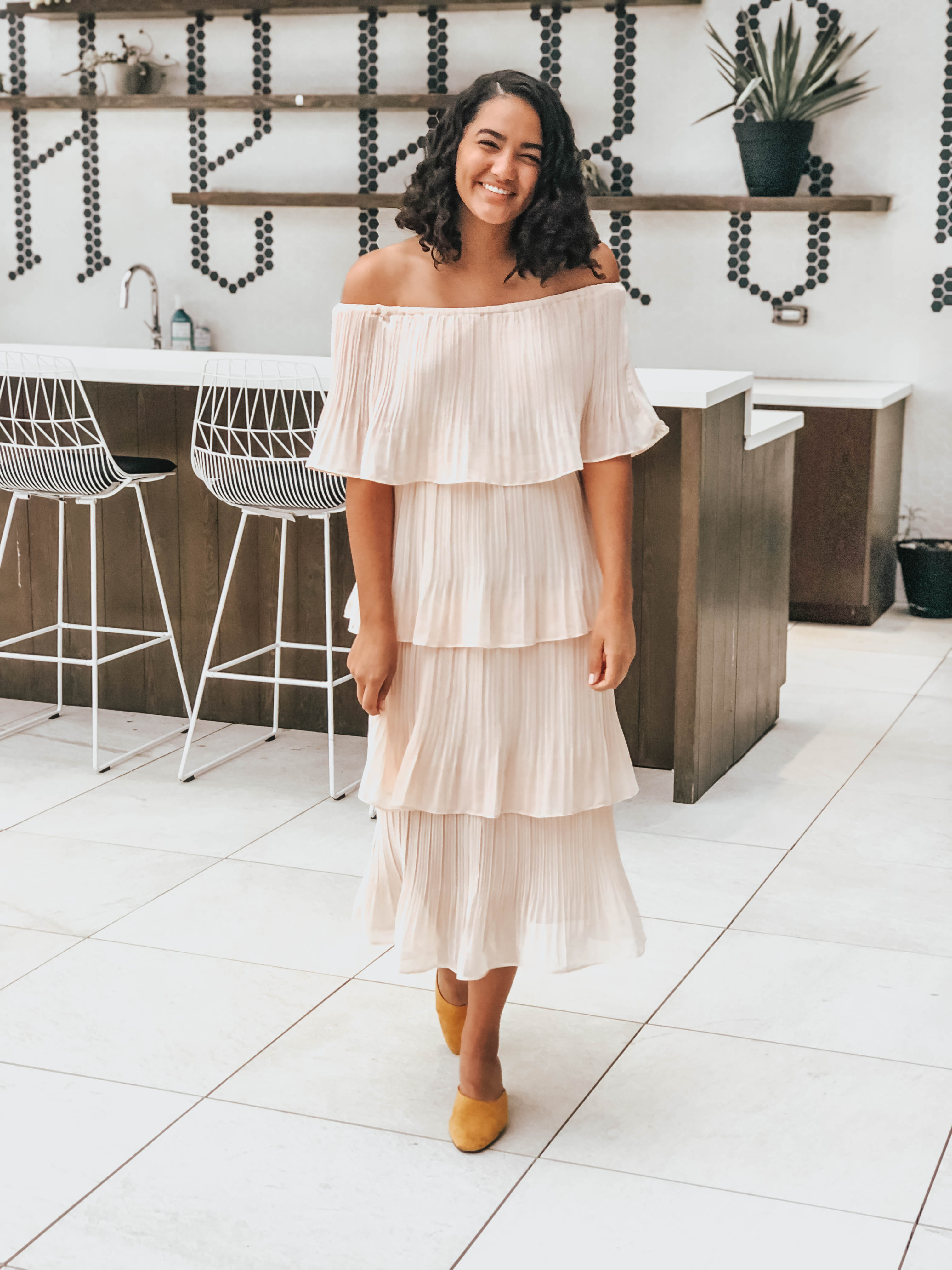 Honest Beauty Event Tiered Pleated Maxi Dress
