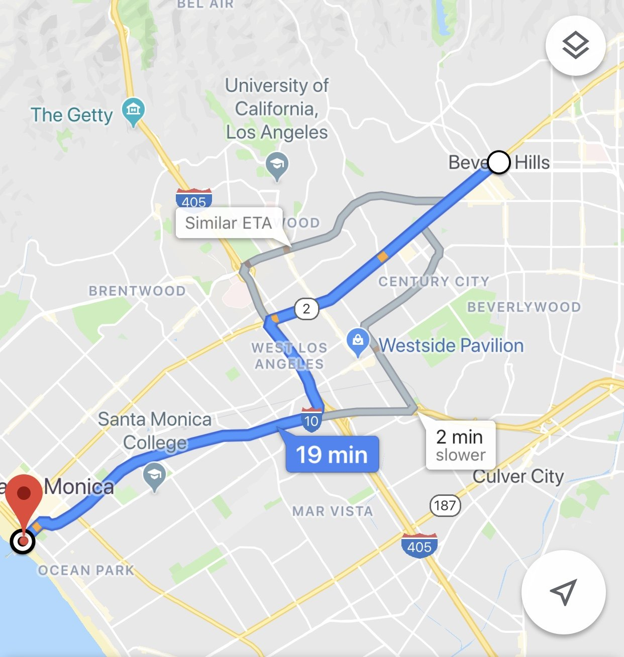 Distance from Beverly Hills to Santa Monica