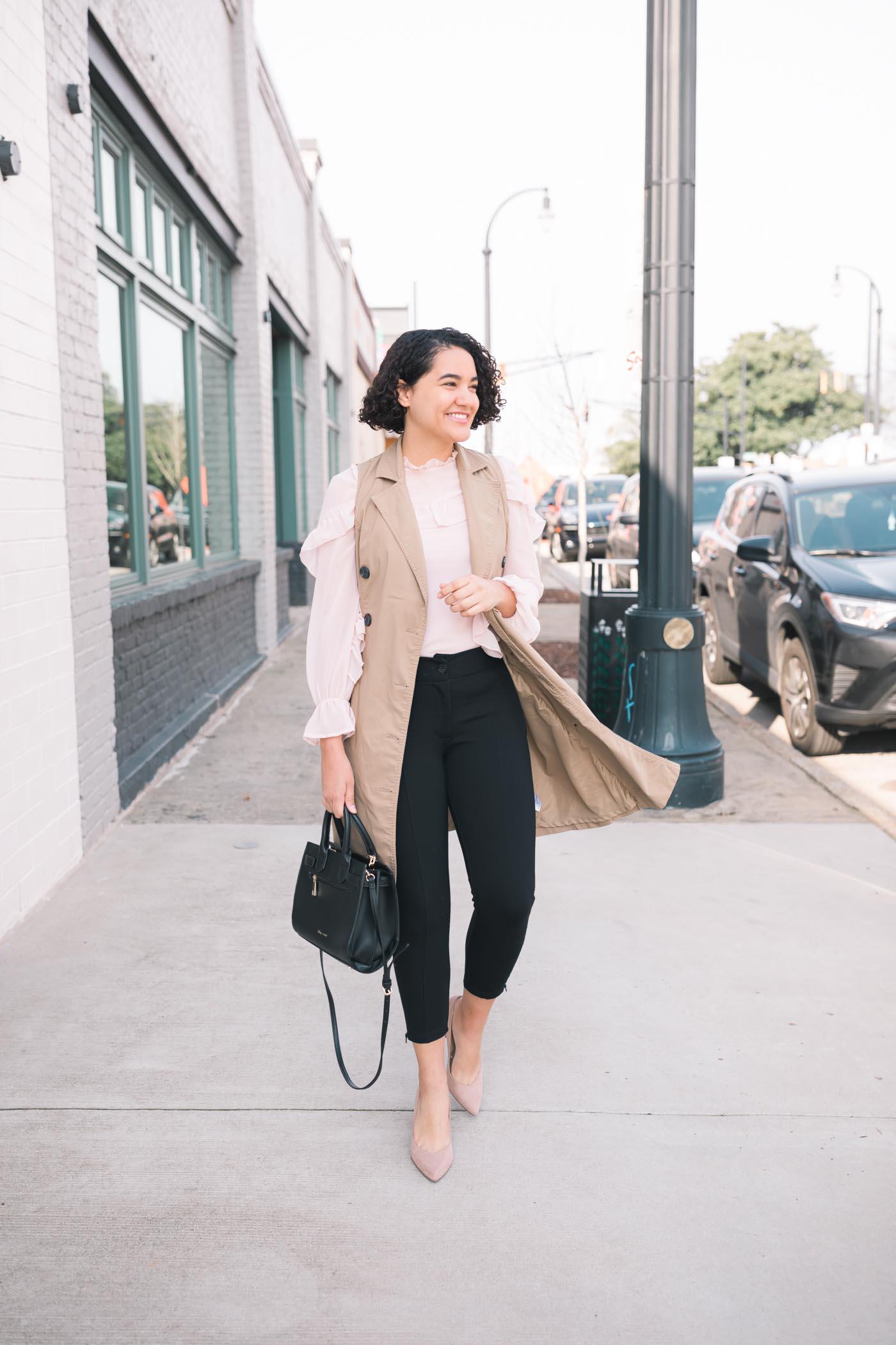 Pink Ruffle Blouse, Trench Vest, Black Dress Pants, Beige Heels, Black Bag