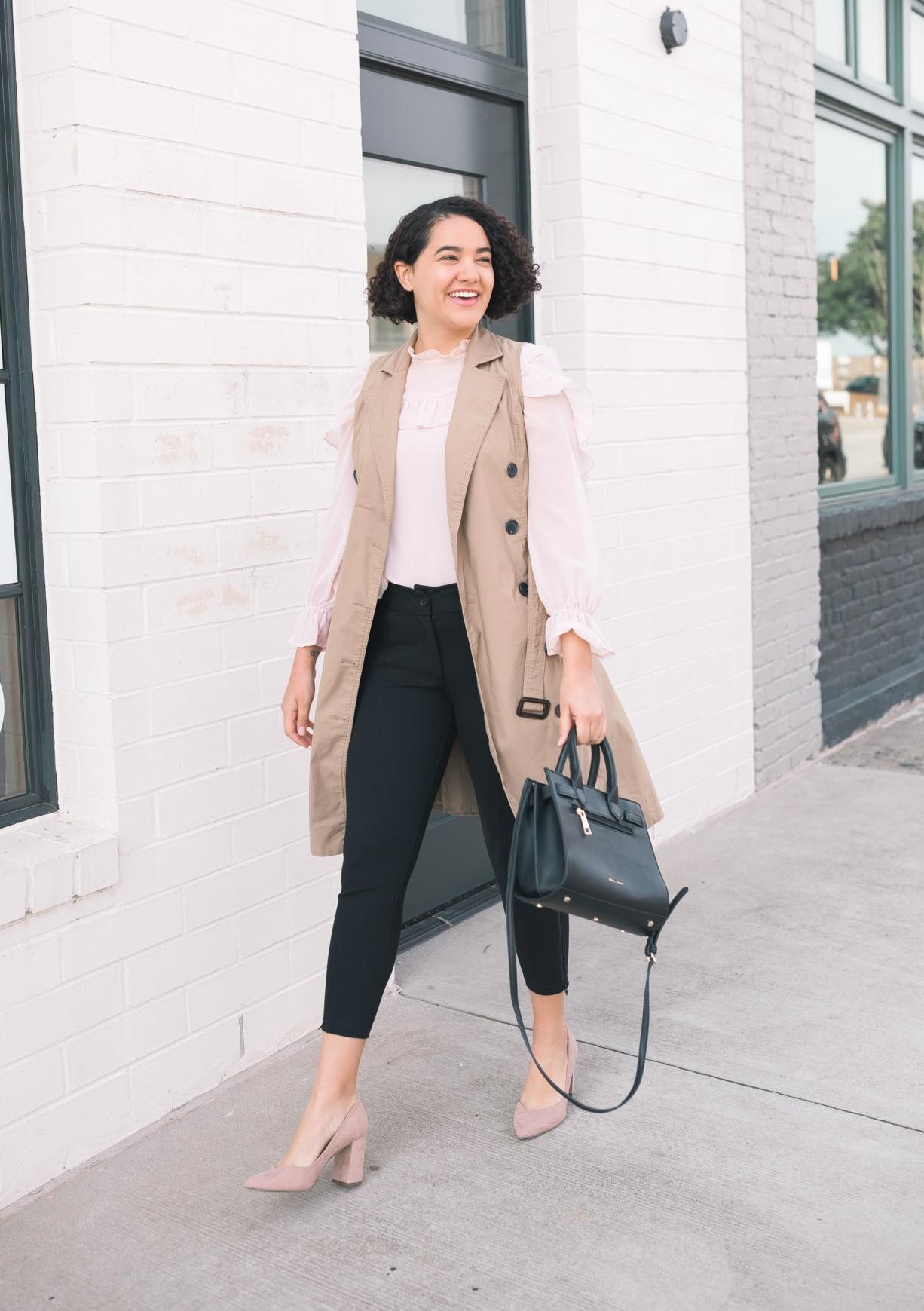 Pink Ruffle Blouse, Trench Vest, Black Dress Pants, Beige Heels