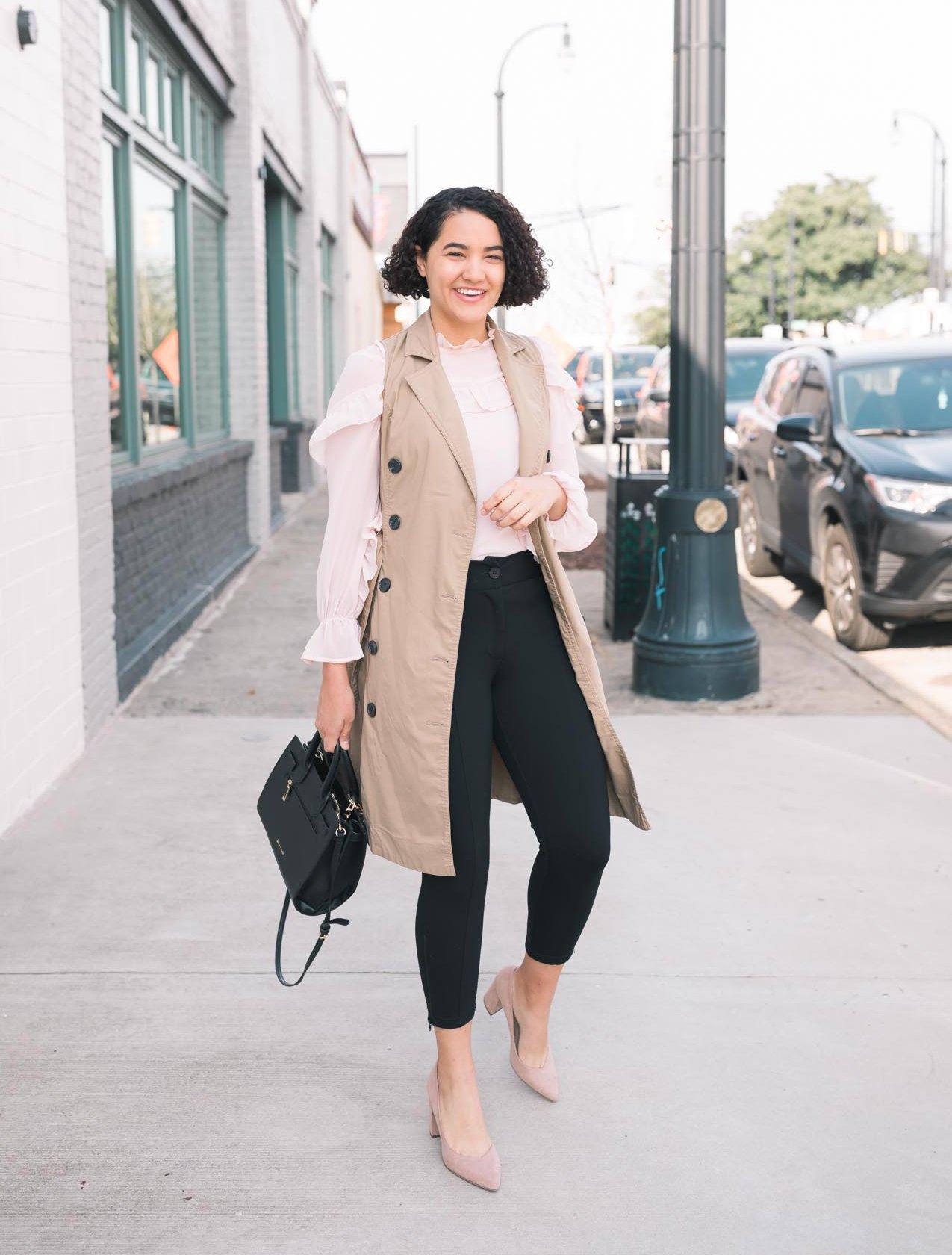 Pink Ruffle Blouse, Trench Vest, Black Dress Pants, Beige Heels