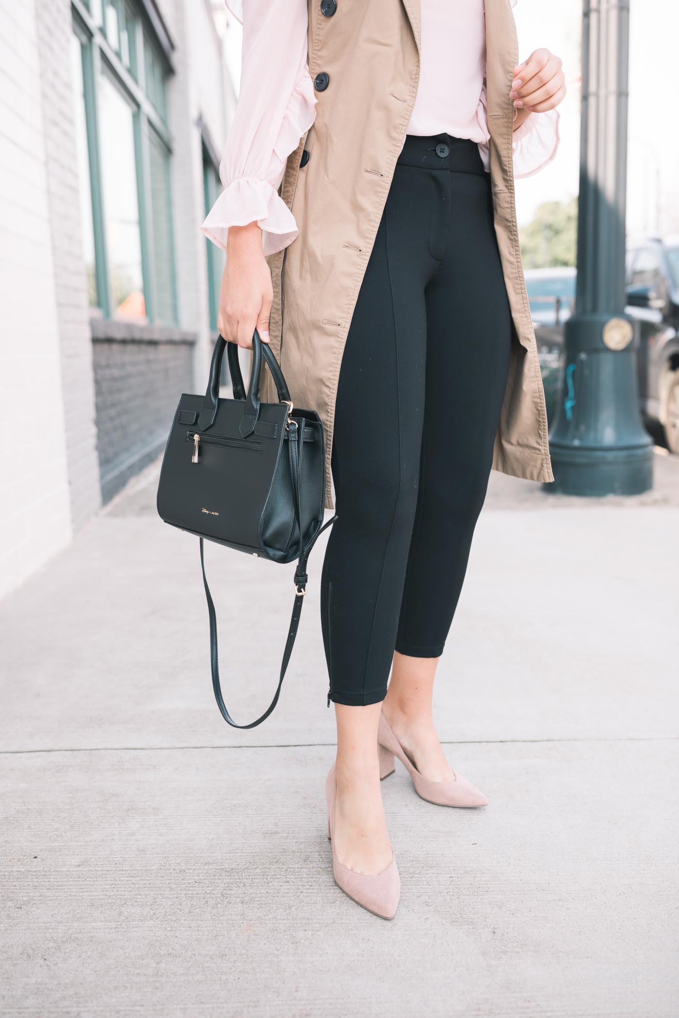Pink Ruffle Blouse, trench Vest, Black Dress Pants, Black Bag