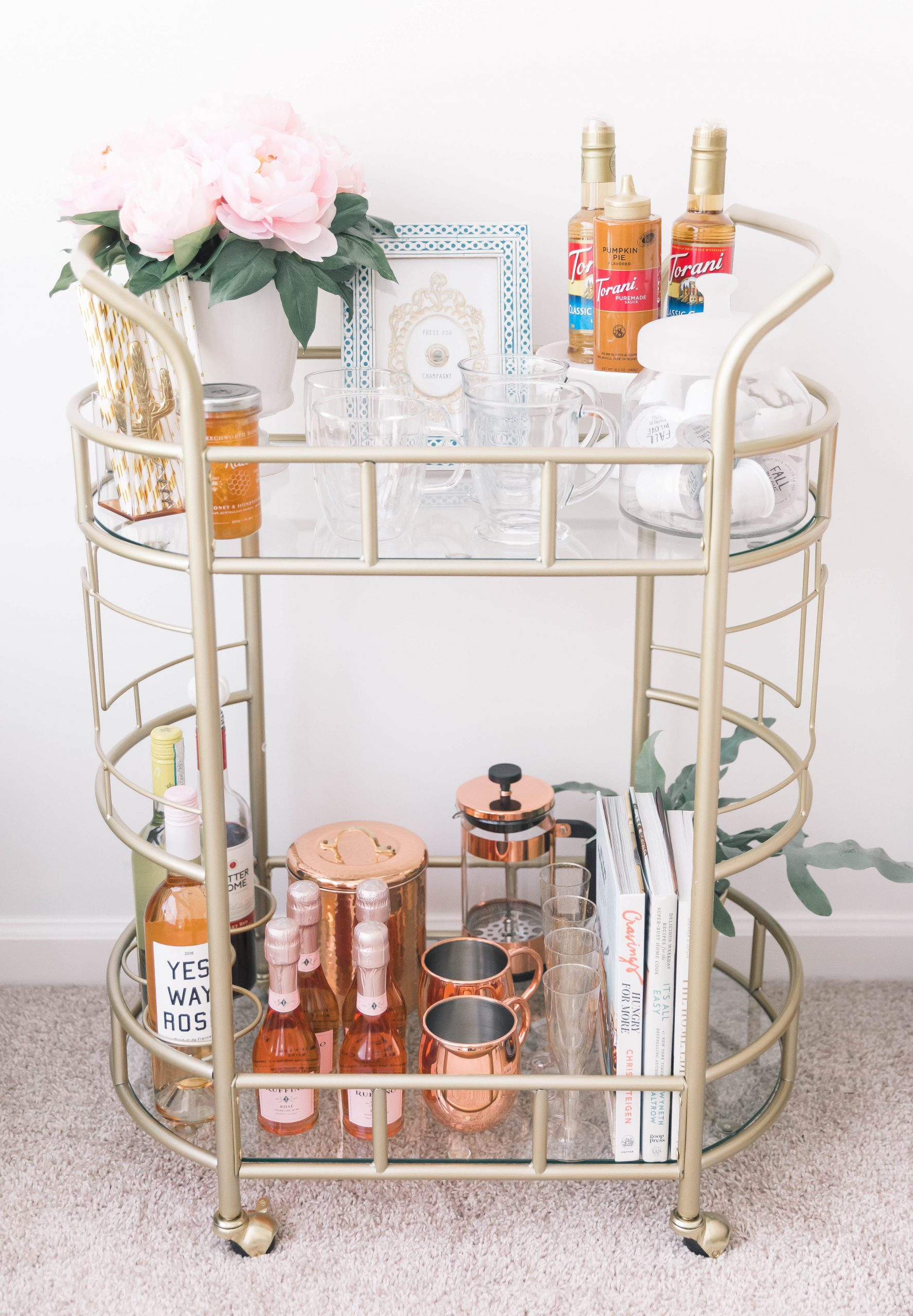 Gold Bar Cart With Wine Rack Reveal Sequins And Sales